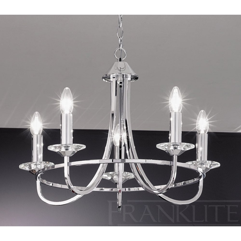Franklite Carousel Chrome Fl21465 5 Light Chrome Chandelier New Throughout Modern Chrome Chandeliers (Image 9 of 15)