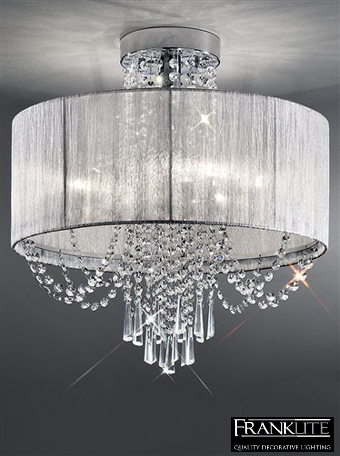 Franklite Empress 6 Light Flush Crystal Chrome Ceiling Fitting Inside Flush Fitting Chandeliers (Image 10 of 15)