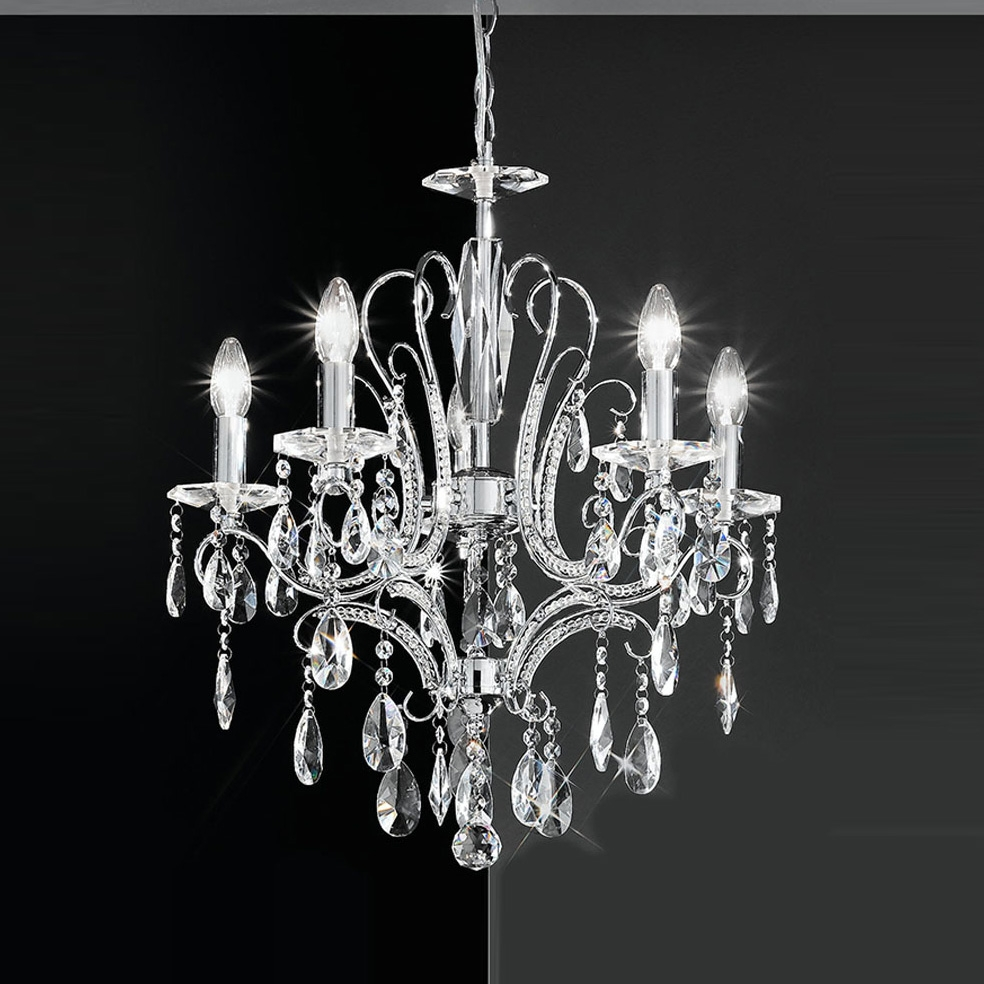 Franklite Fl21565 Brocade 5 Light Chrome Crystal Chandelier Pertaining To Chrome Crystal Chandelier (Image 11 of 15)