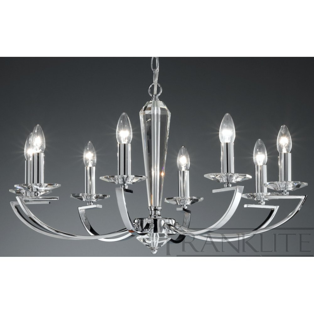 Franklite Fl22418 Artemis Chrome 8 Light Chandelier Love4lighting Intended For Chandelier Chrome (Image 10 of 15)