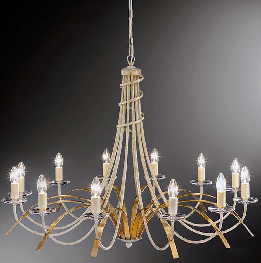 Franklite Fusion Very Large Cream And Gold Ironwork 12 Light Throughout Large Cream Chandelier (Image 9 of 15)
