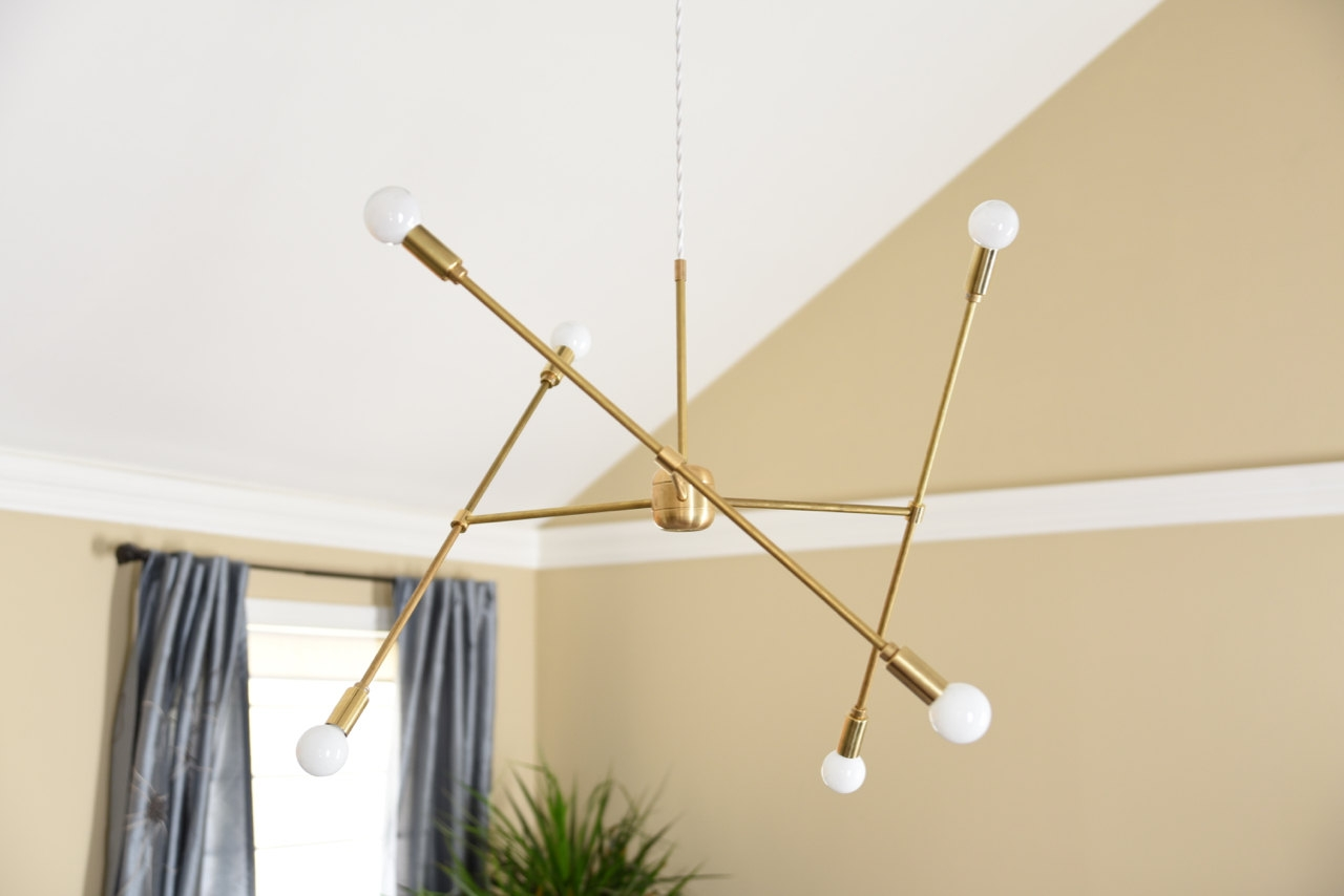 Free Shipping Large Modern Chandelier Gold Three Arm Sputnik Bulb Regarding Gold Modern Chandelier (Image 3 of 15)