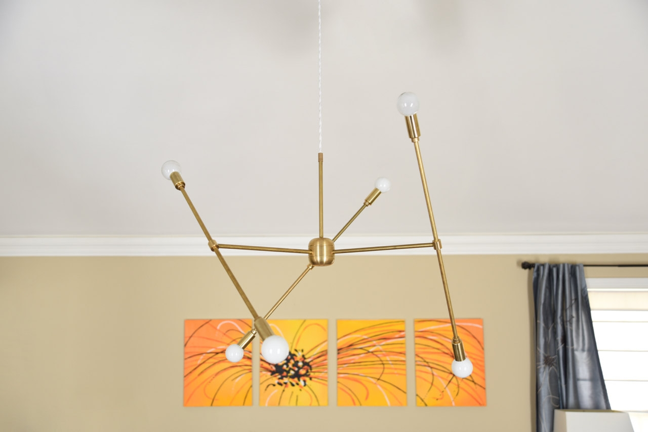 Free Shipping Large Modern Chandelier Gold Three Arm Sputnik Bulb With Gold Modern Chandelier (Image 4 of 15)