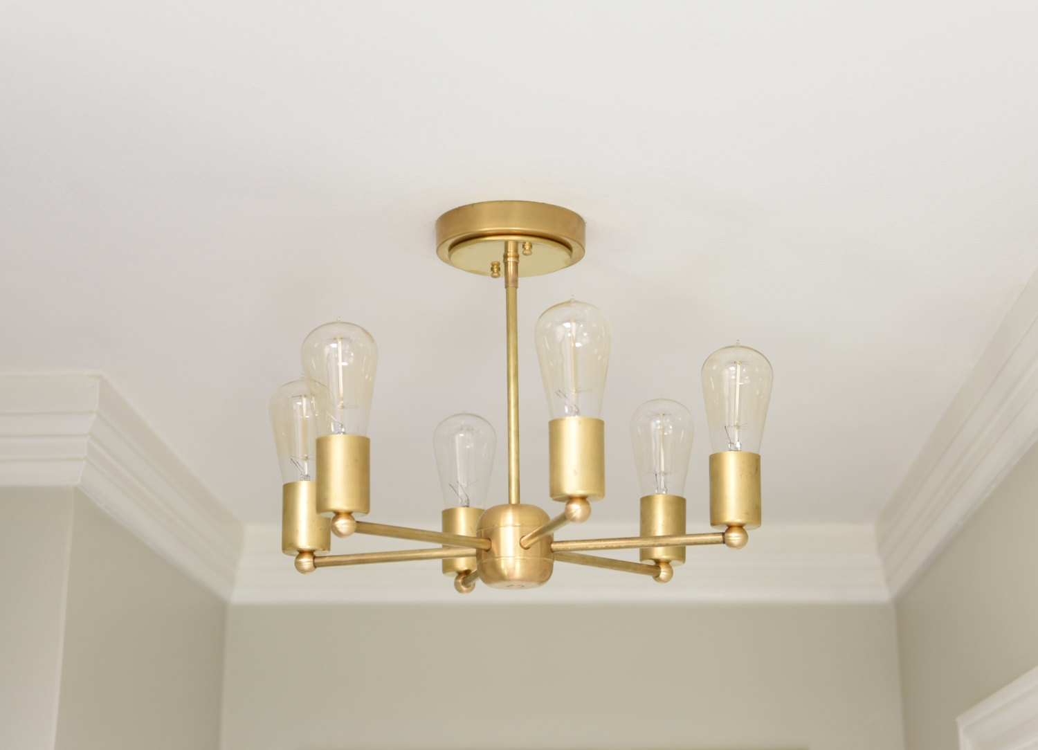 Free Shipping Modern Chandelier Gold 6 Arm Pinwheel Bulb Brass Within Gold Modern Chandelier (Image 5 of 15)
