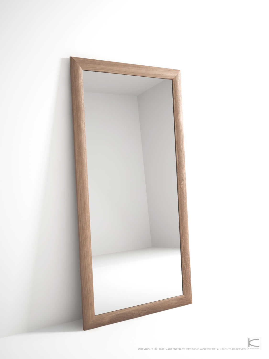 Free Standing Mirror Contemporary Rectangular Oak Vi40 Intended For Vintage Free Standing Mirrors (Image 8 of 15)