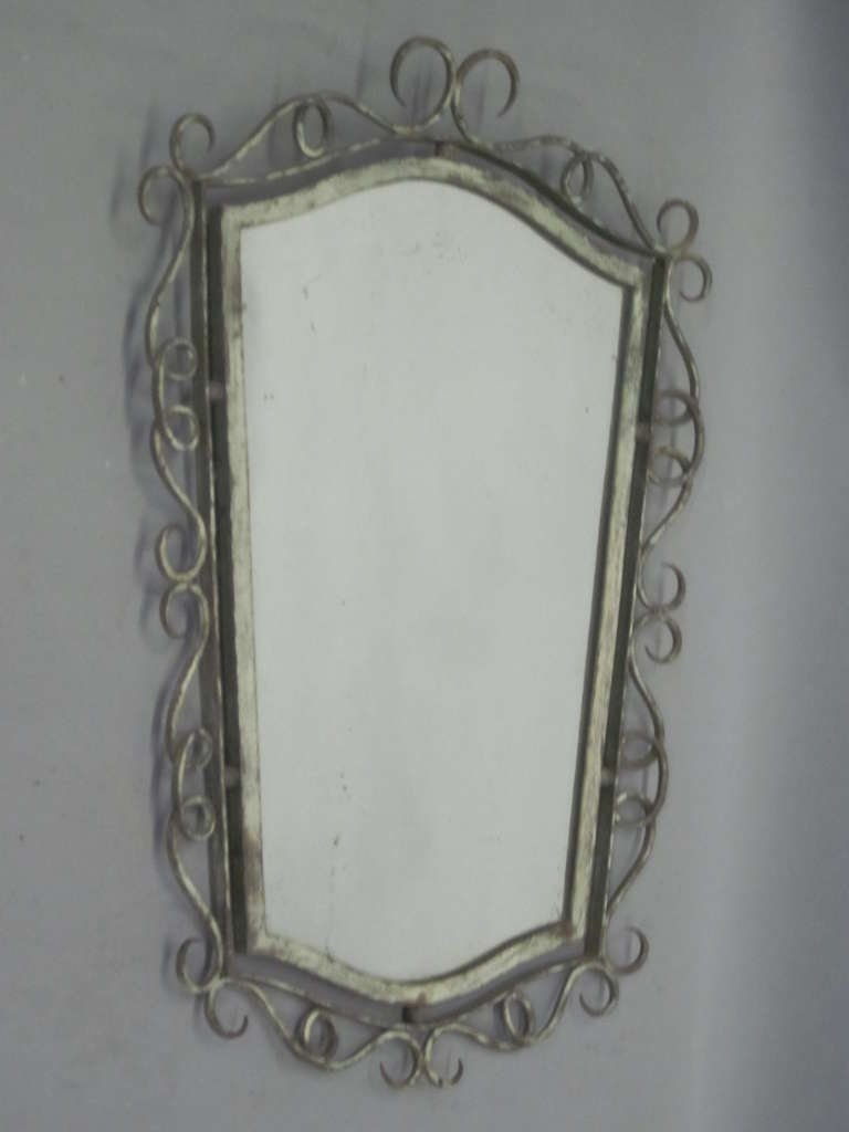 French 1940s Wrought Iron Mirror Attributed To Ren Drouet For Regarding Black Wrought Iron Mirror (Image 8 of 15)