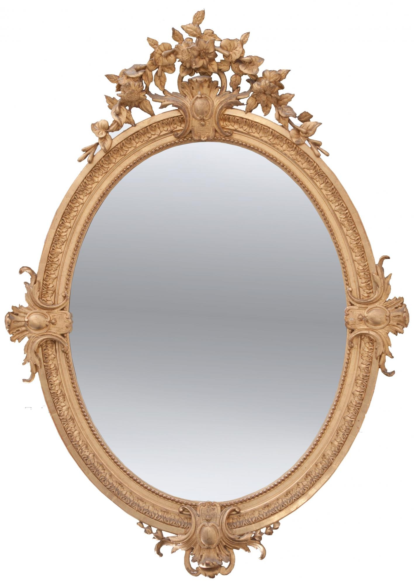 French 19th Century Oval Gold Gilt Mirror Inside Gold Gilt Mirrors (Image 7 of 15)