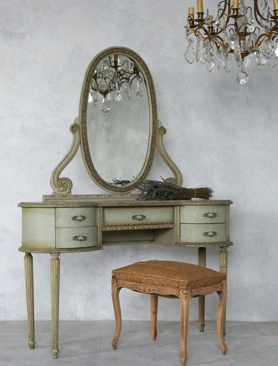 French Antique Bathroom Vanities Tattoos Green Bathroom Vanity With Vintage French Mirrors (Image 8 of 15)