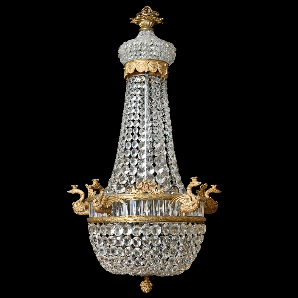 French Antique Five Light Empire Style Chandelier With Cut Intended For Antique Style Chandeliers (Image 5 of 15)