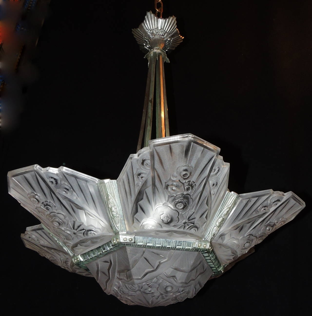 French Art Deco Fixture Signed J Robert Silvered Bronze Frosted In French Glass Chandelier (Image 9 of 15)