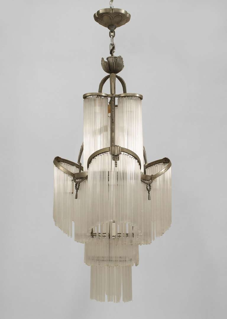 French Art Deco Glass Fringe Chandelier Art Deco Glass Within French Glass Chandelier (Image 10 of 15)
