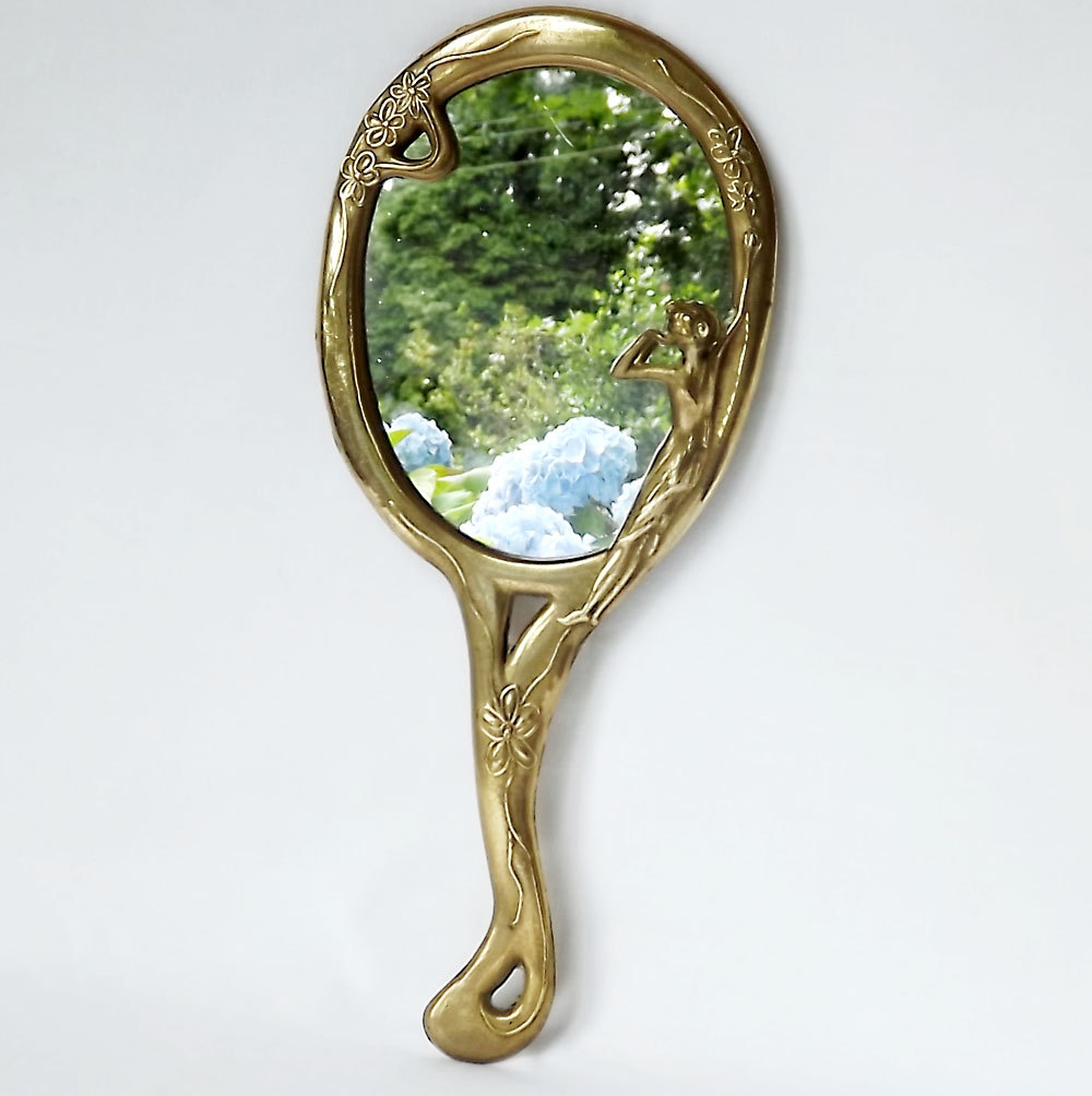 French Art Nouveau Hand Mirror Vanity Mirror For Mirror Art Nouveau (Image 11 of 15)