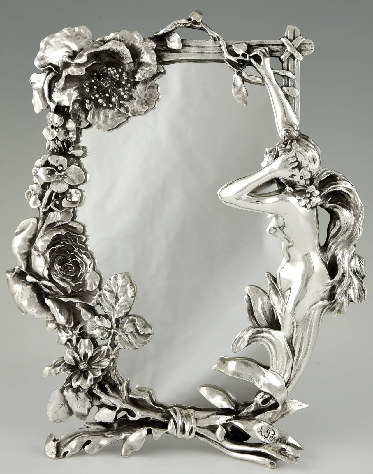 French Art Nouveau Silvered Table Mirror With Nude Peyre 1900 Pertaining To Mirror Art Nouveau (Image 12 of 15)