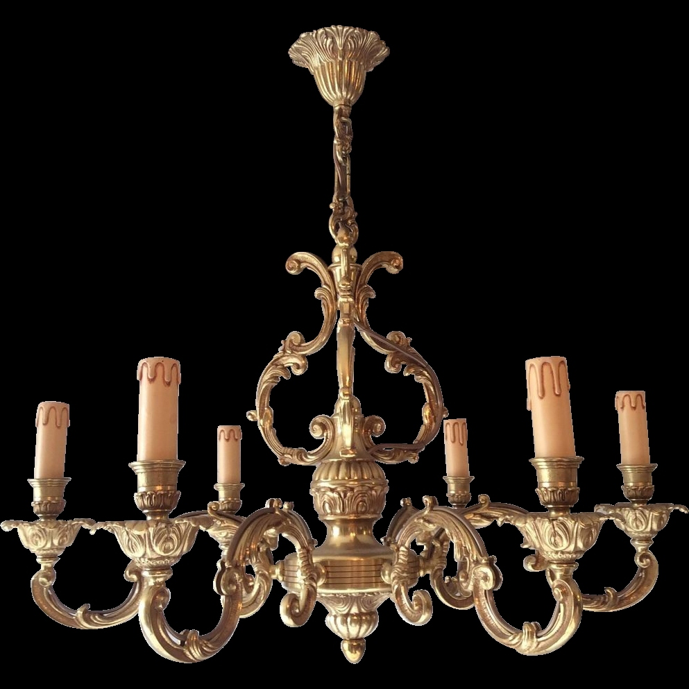 French Bronze Chandelier With 6 Arms In Louis Xv Style From Pertaining To French Bronze Chandelier (Image 11 of 15)