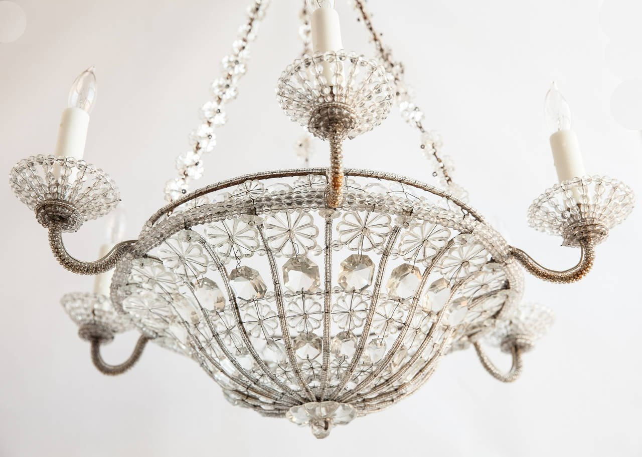 French Chandelier In A Basket Shape With Crystal Flowers Circa In French Chandelier (Image 6 of 15)