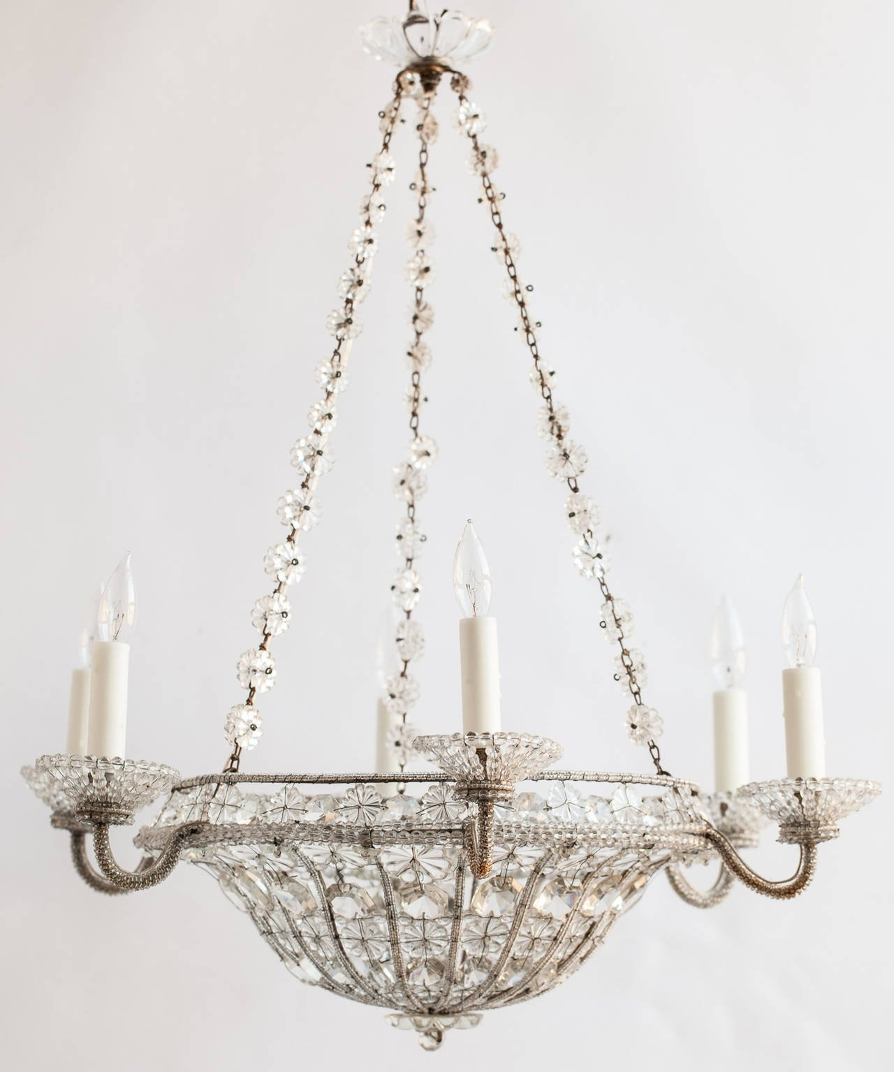 French Chandelier In A Basket Shape With Crystal Flowers Circa With French Chandelier (Image 8 of 15)