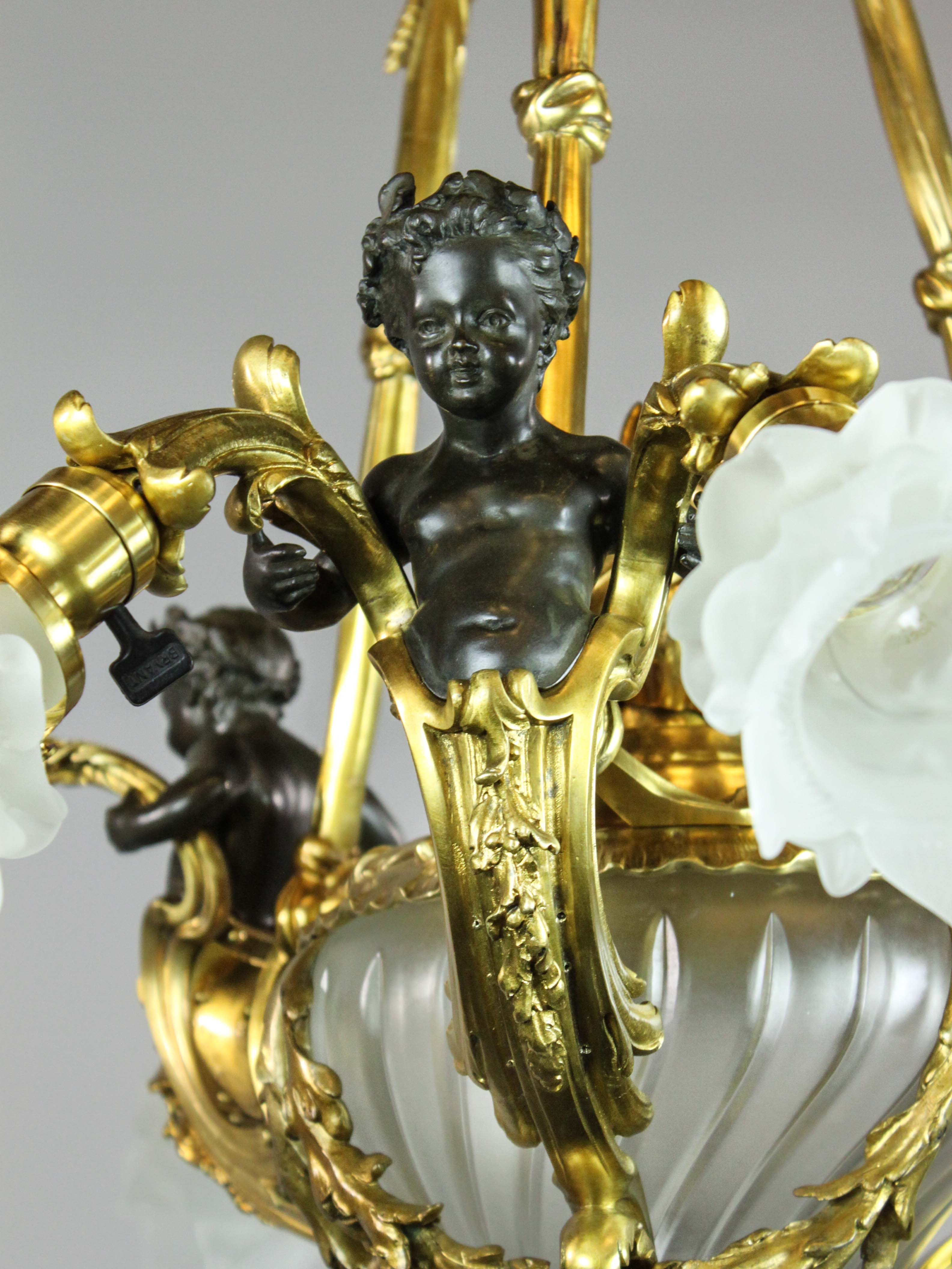 French Cherub Rococo Figural Chandelier 7 Light Pertaining To French Gold Chandelier (Image 5 of 14)
