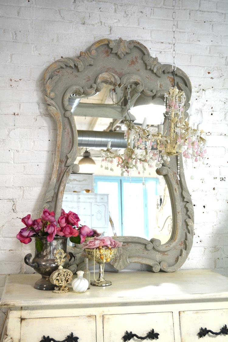 French Chic Mirror Pitchloveco Pertaining To Round Shabby Chic Mirror (Image 6 of 15)
