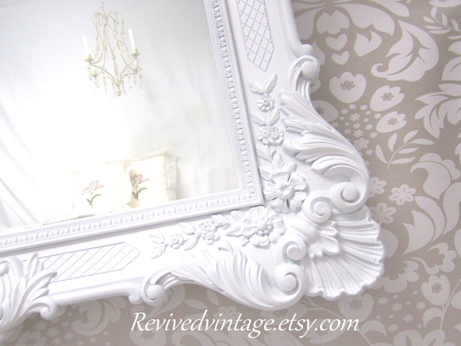 French Country Mirrors For Sale Framed White Mirror Pertaining To French Mirrors For Sale (Image 5 of 15)