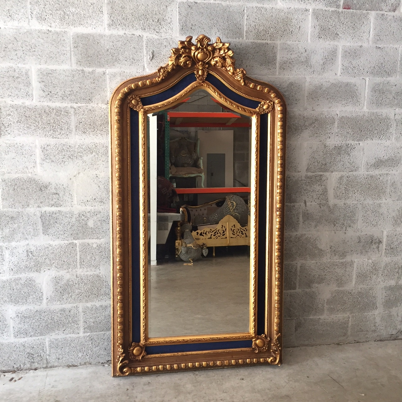 French Floor Mirror Gold Antique Heavy Carved French Furniture 79h Intended For Rococo Floor Mirror (Image 9 of 15)