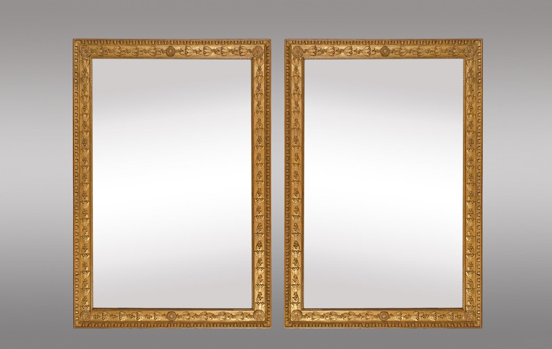 French Gilt Mirrors With Oak Leaves And Rosettes Set Of 2 For Regarding Gilt Mirrors (Image 5 of 15)