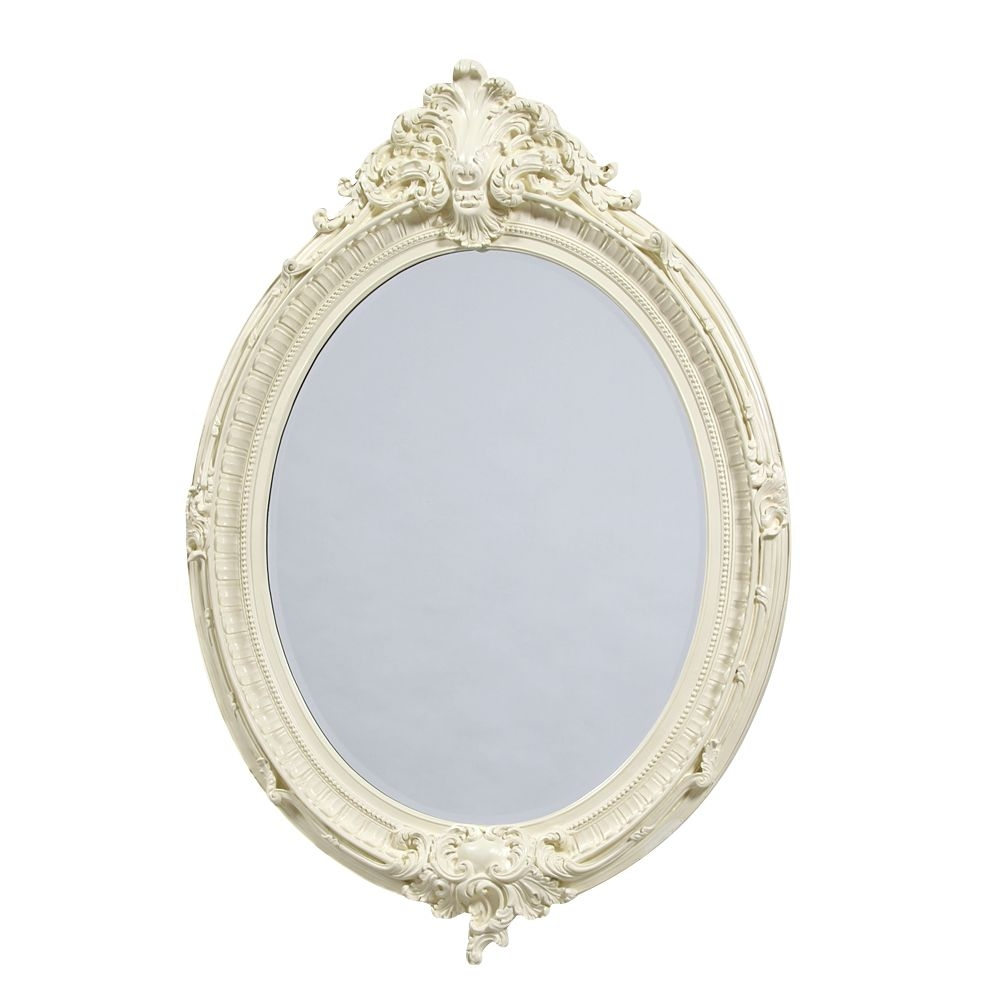 French Large Cream Oval Mirror Intended For Cream Mirror (Photo 13 of 15)