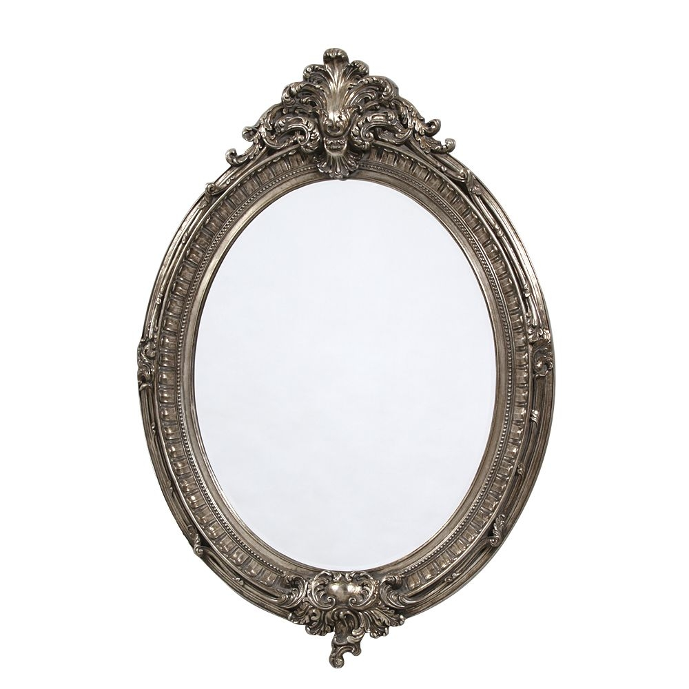 French Large Silver Oval Mirror Regarding Silver Oval Mirror (Image 5 of 15)
