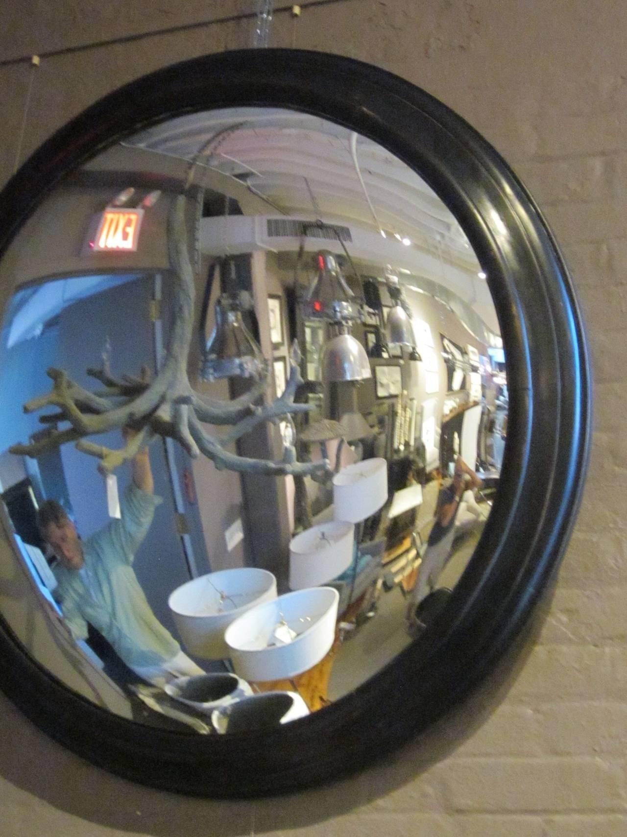 French Napoleon Iii Extra Large Round Convex Mirror In Black Frame Regarding Round Convex Mirrors (Image 5 of 15)
