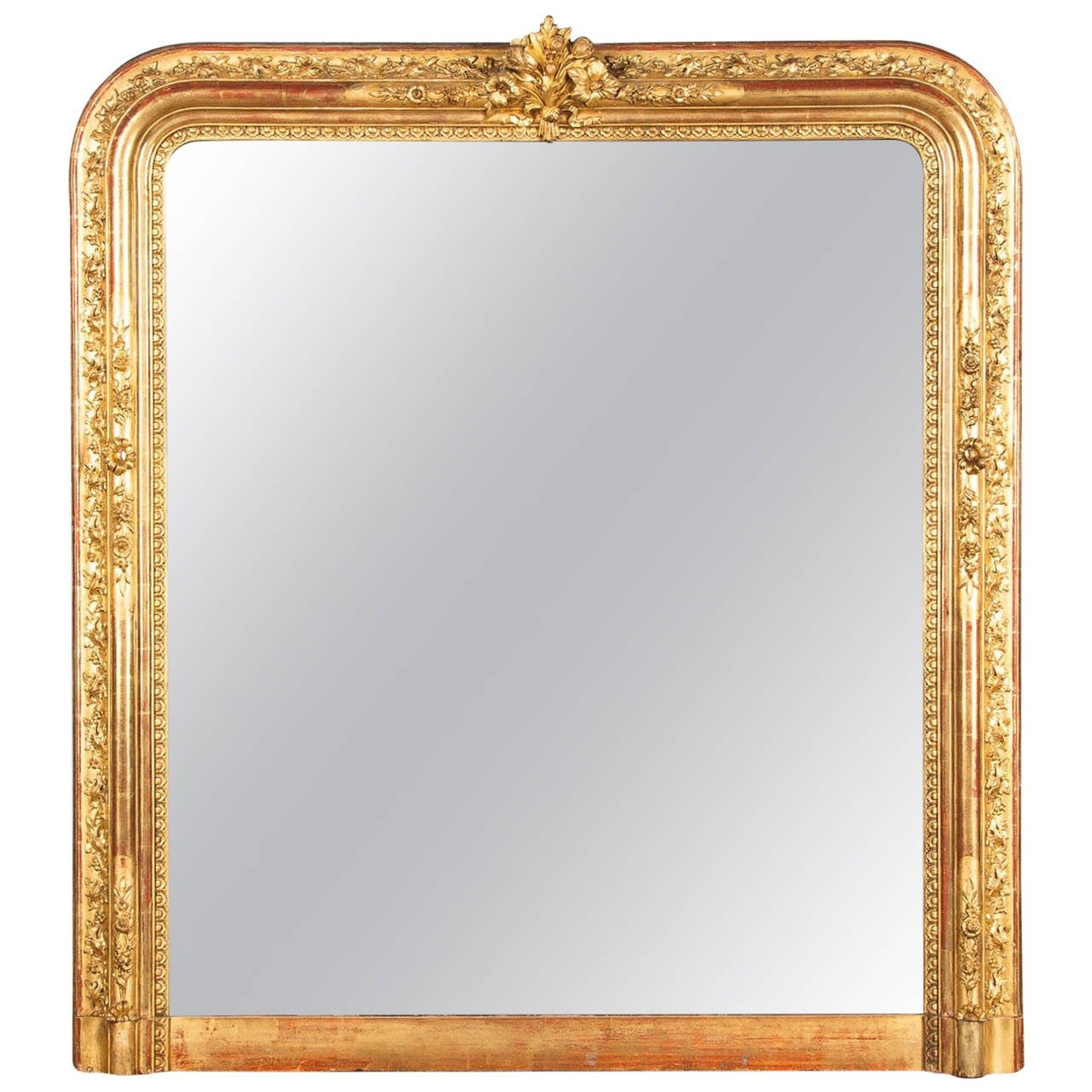 French Napoleon Iii Gold Leaf Mantel Mirror 1870s For Sale At 1stdibs For Gold French Mirror (Image 5 of 15)