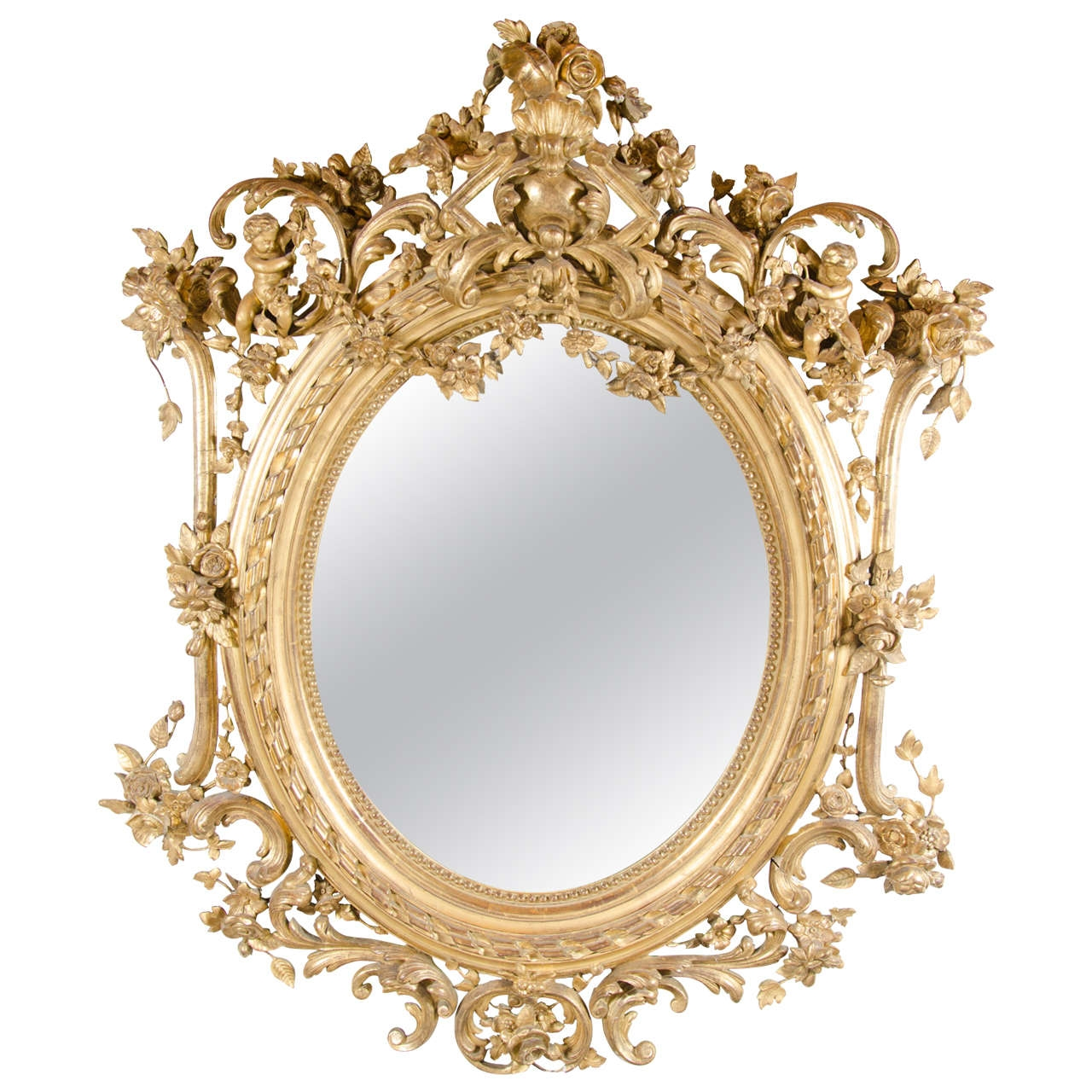 French Rococo Oval Mirror With 24 Karat Gold Gilt And Foliage For Gold Gilt Mirrors (Image 9 of 15)
