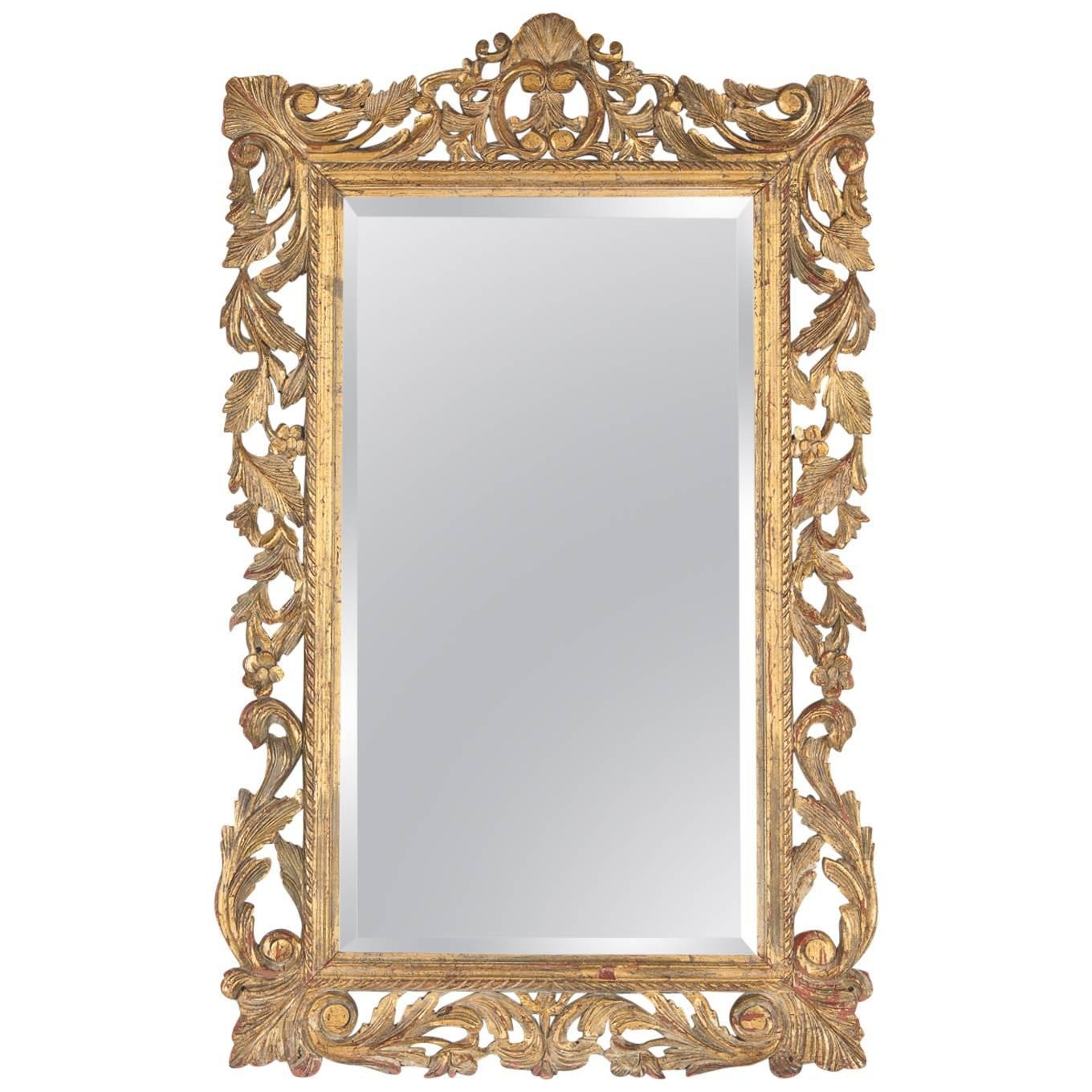 French Rococo Style Mirror With Gilt Wood Frame Early 1900s For Pertaining To Rococo Style Mirrors (Image 5 of 15)