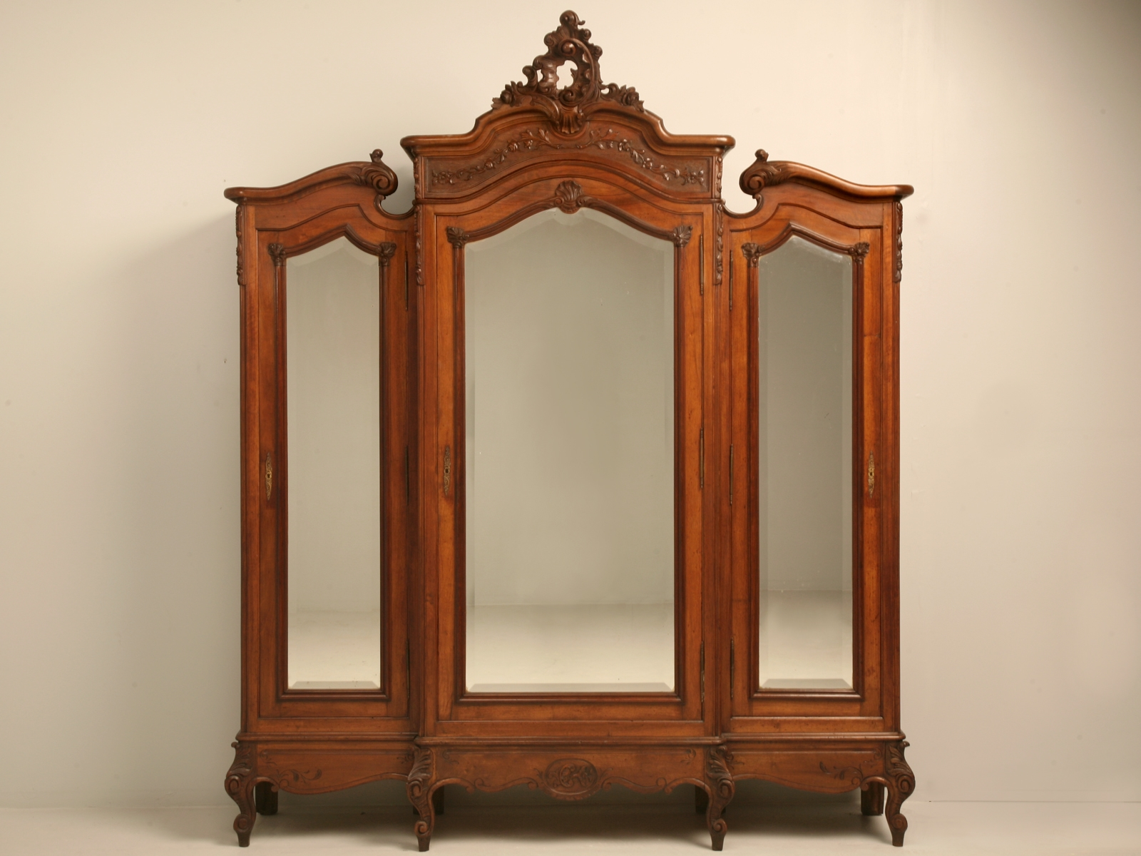 French Rococo Triple Walnut Armoire With Mirrors Armoires Pertaining To Antique Triple Mirror (Image 8 of 15)