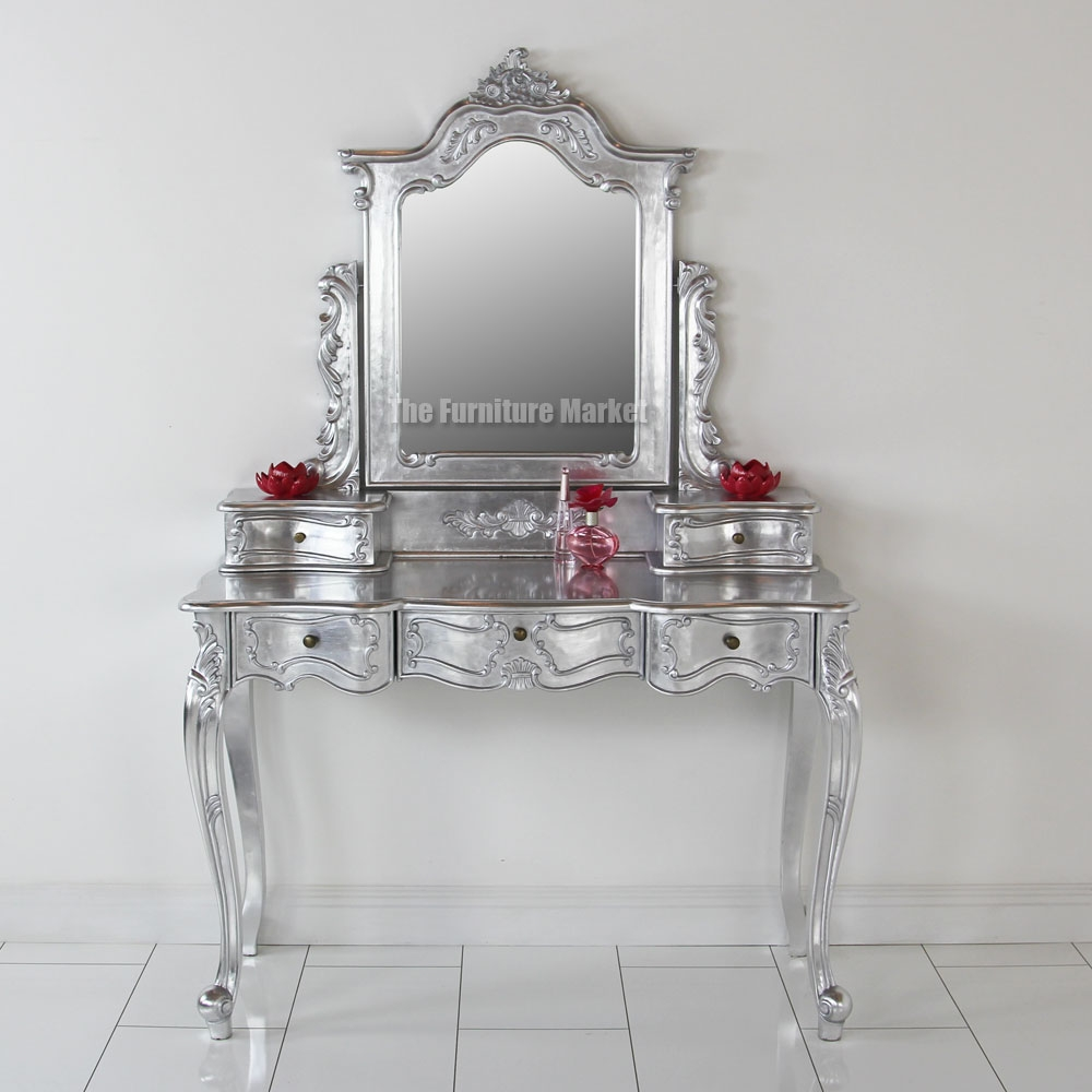 French Silver Leaf Dressing Table With Mirror Dressing Tables Regarding Silver Dressing Table Mirror (Image 6 of 15)