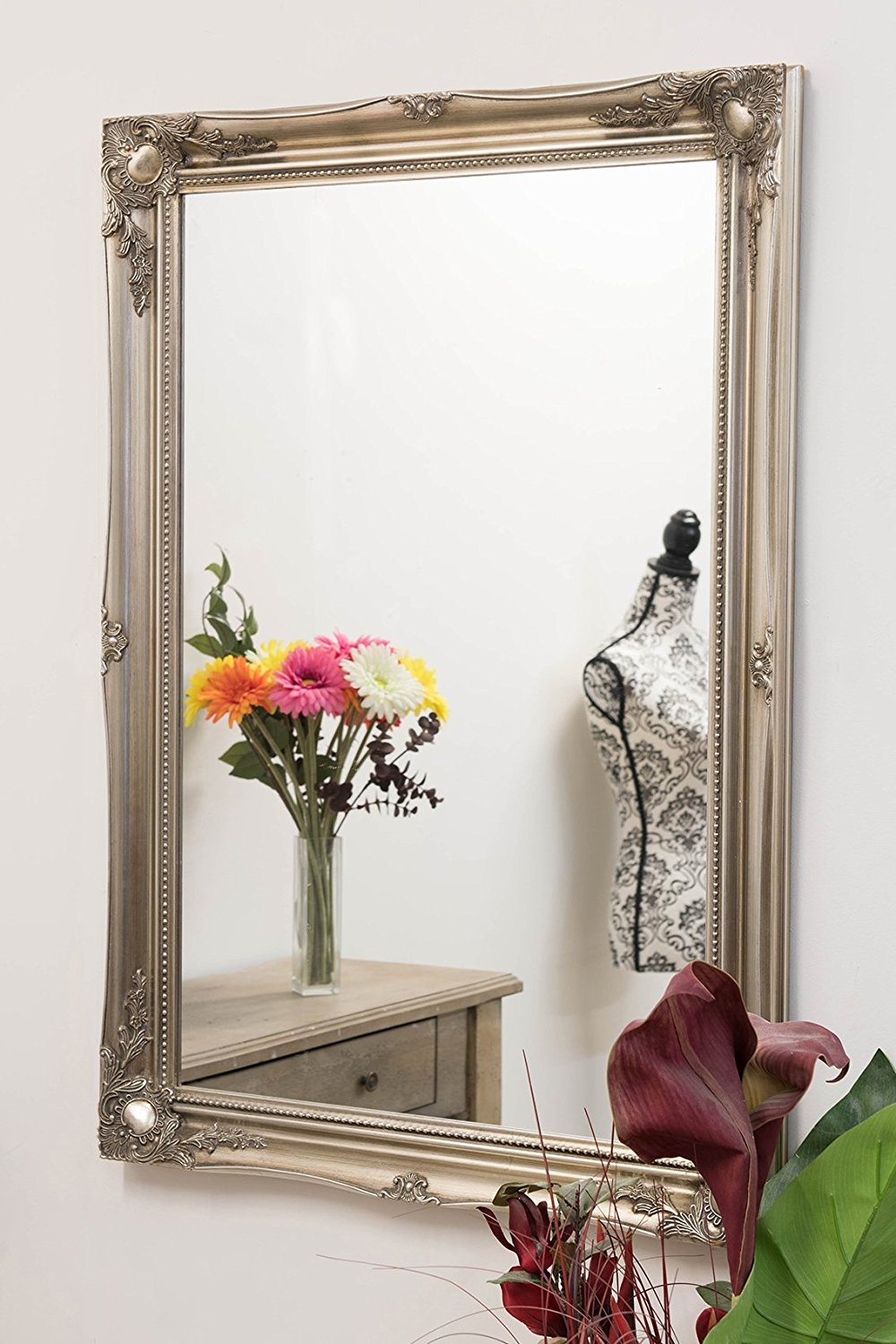 French Silver Shab Chic Antique Style Rectangular Wall Mirror With French Chic Mirror (Image 9 of 15)
