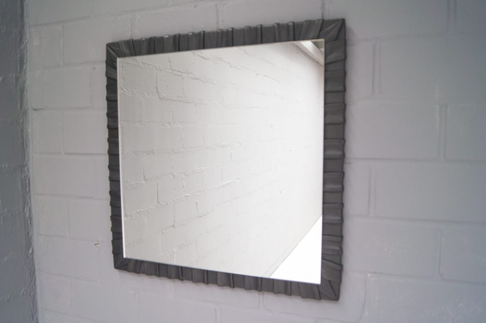 French Square Leather Wall Mirror 1960s For Sale At Pamono Throughout Leather Wall Mirror (View 7 of 15)