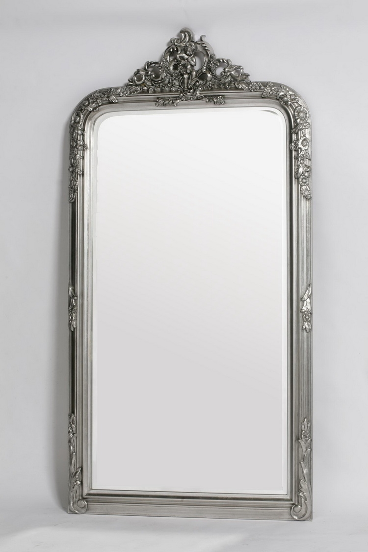French Style Antiqued Silver Floor Standing Mirror Uk Site With Regard To Silver Floor Standing Mirror (Image 11 of 15)