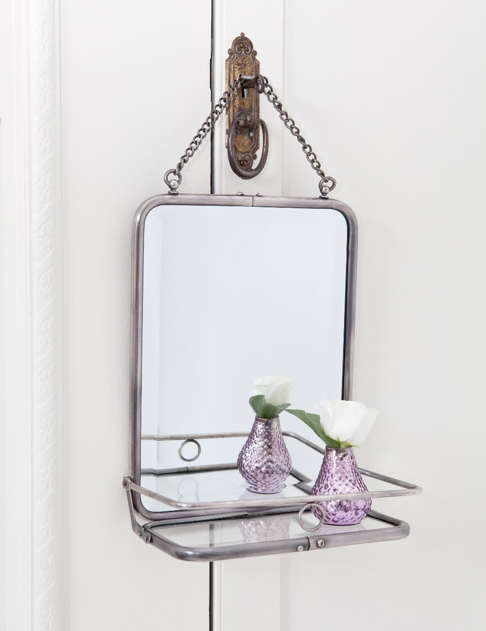French Style Folding Mirror Rose Grey Within French Style Mirrors (Image 6 of 15)