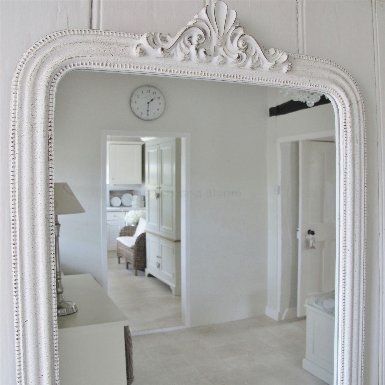 French Style White Wall Mirror Bliss And Bloom Ltd Intended For French White Mirror (Image 4 of 15)