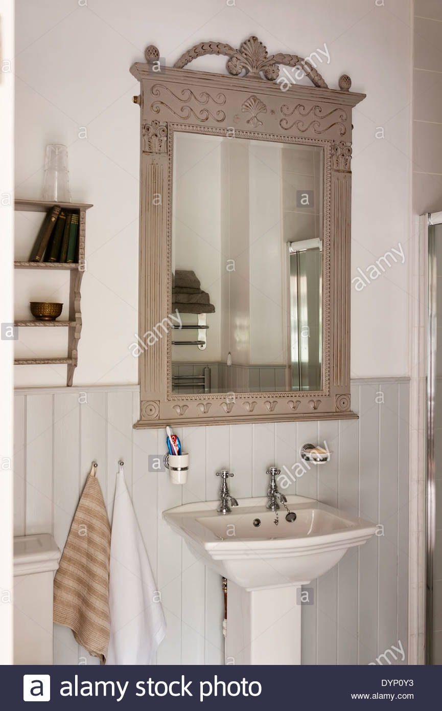 French Style Wooden Mirror Frame With Carved Details And Flower With French Style Bathroom Mirror (Image 13 of 15)