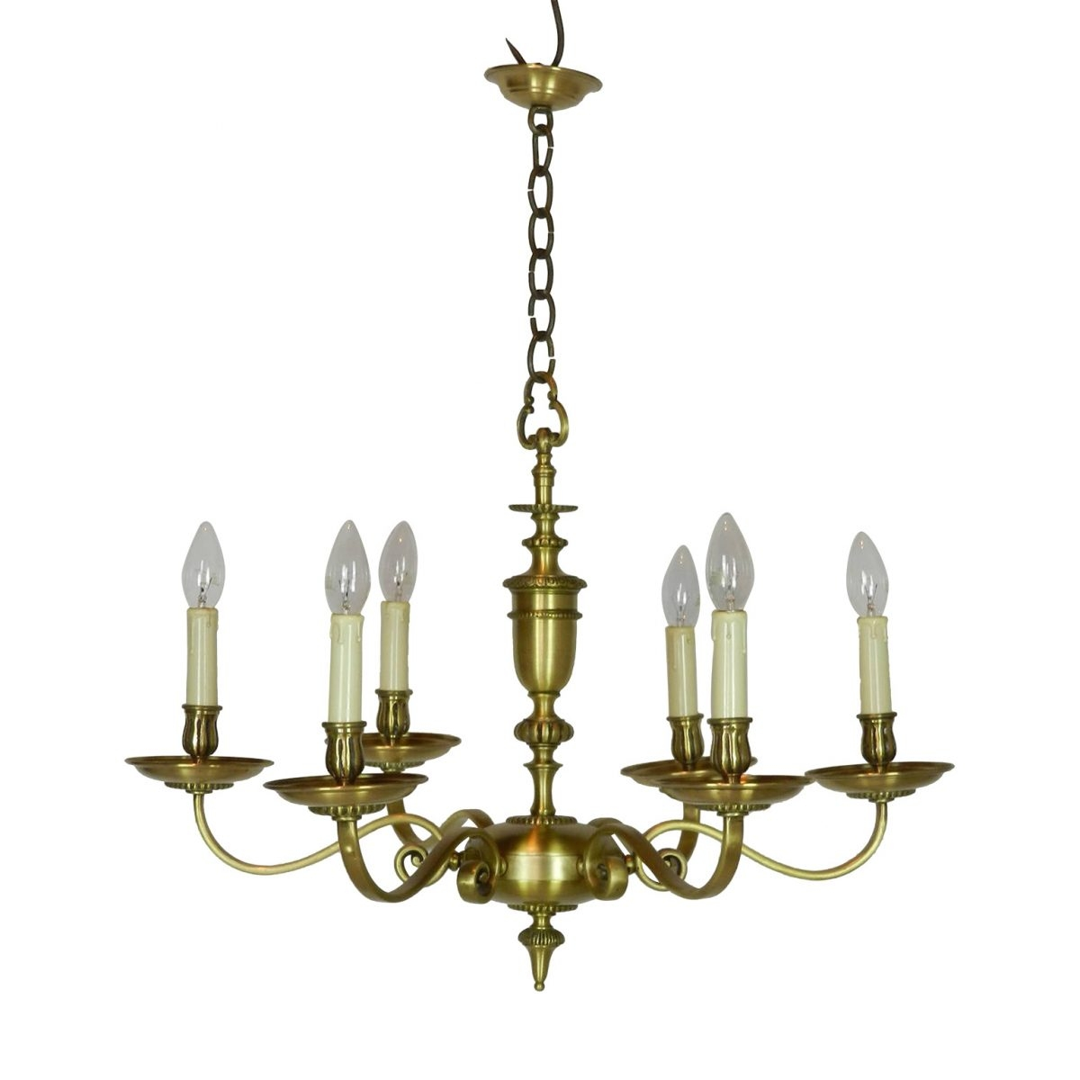 French Vintage Brass Six Light Chandelier Layer Vintage Mid Pertaining To Vintage Brass Chandeliers (Image 6 of 15)
