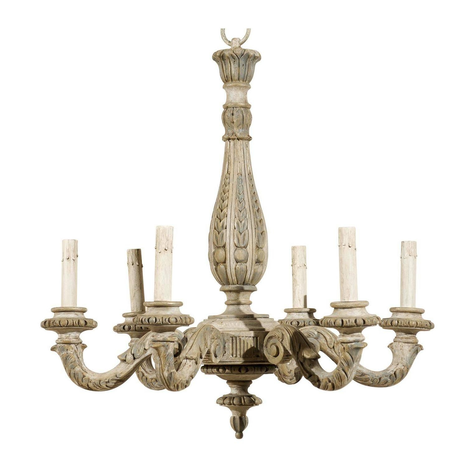 French Vintage Six Light Carved Wood Chandelier Modern Inside French Antique Chandeliers (Image 11 of 15)