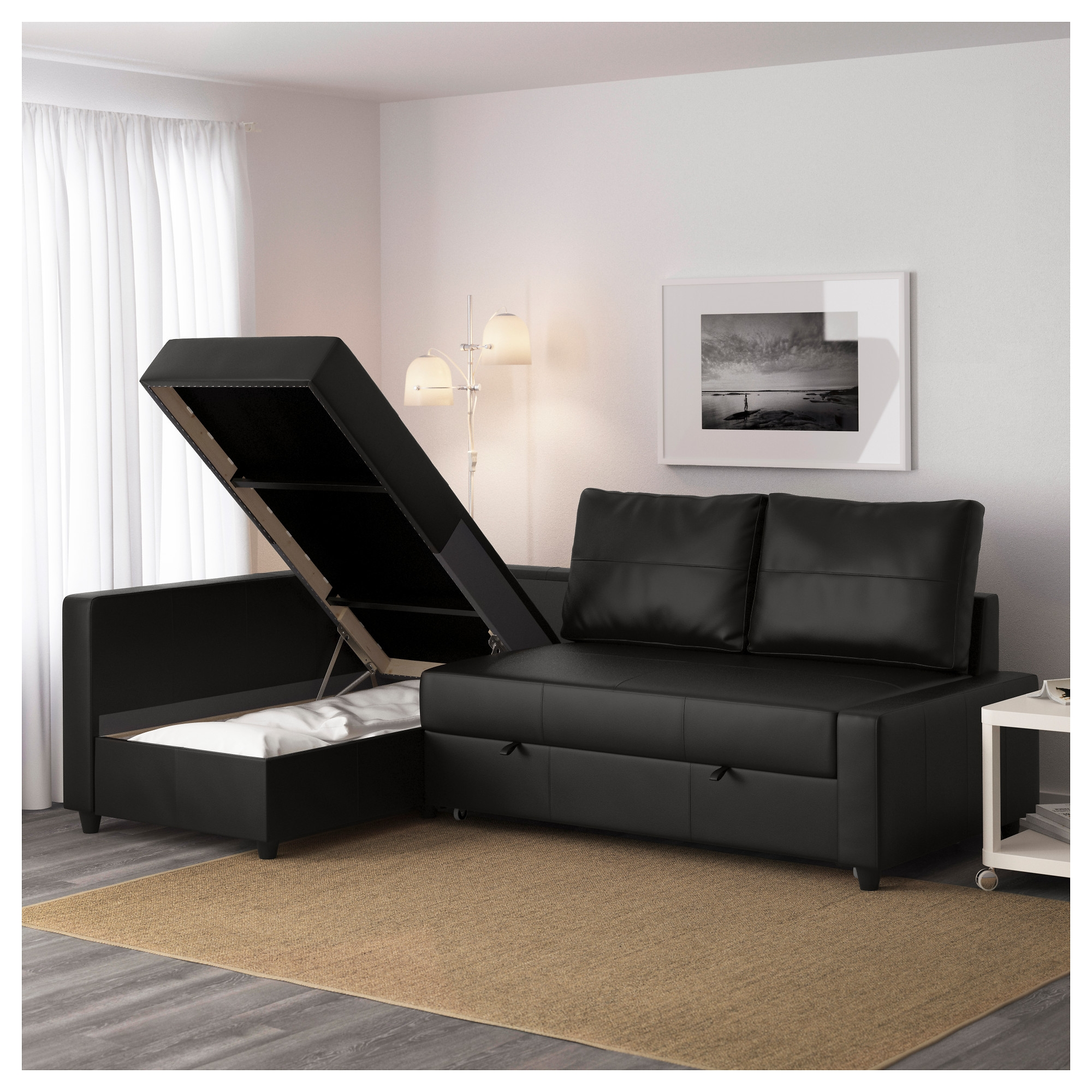 Friheten Corner Sofa Bed With Storage Bomstad Black Ikea Throughout Corner Sofa Bed With Storage Ikea (Image 3 of 15)