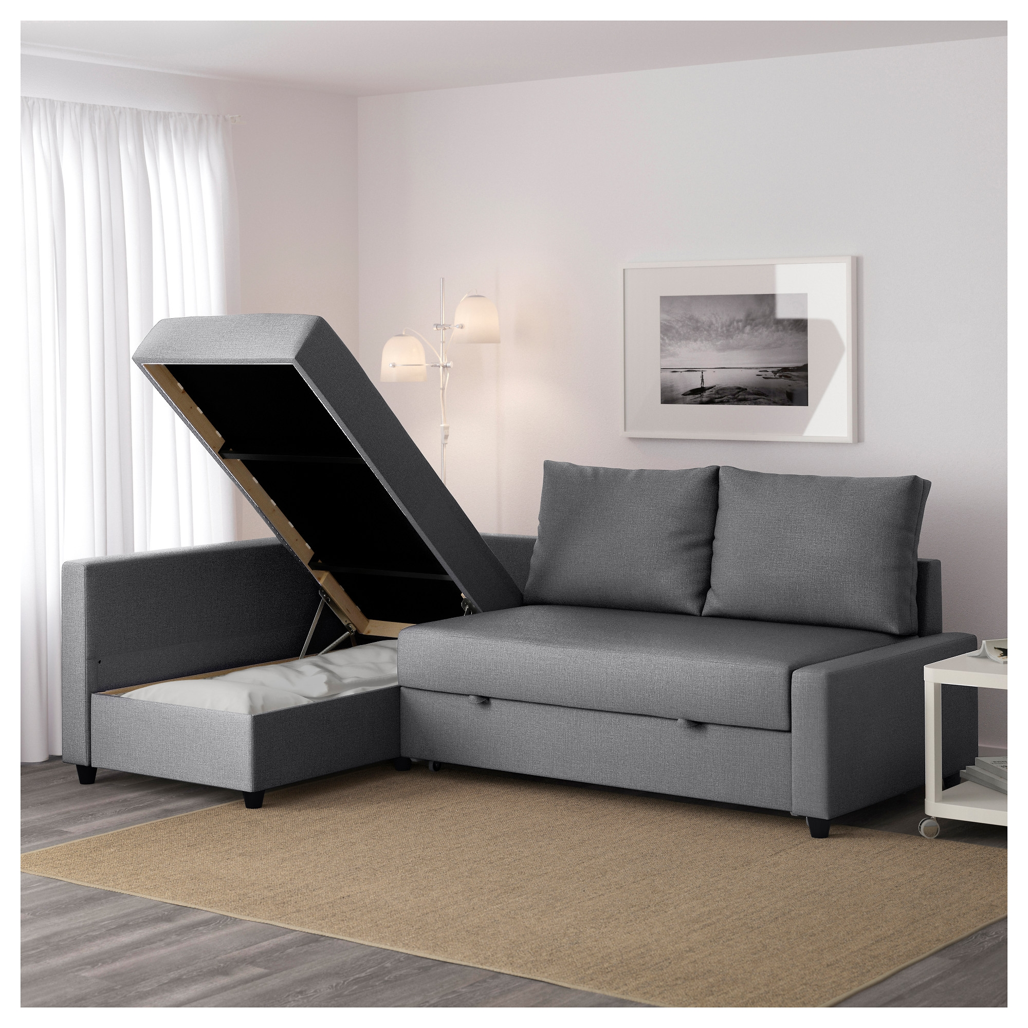 Friheten Corner Sofa Bed With Storage Skiftebo Dark Grey Ikea Pertaining To Corner Sofa Bed With Storage Ikea (Image 6 of 15)