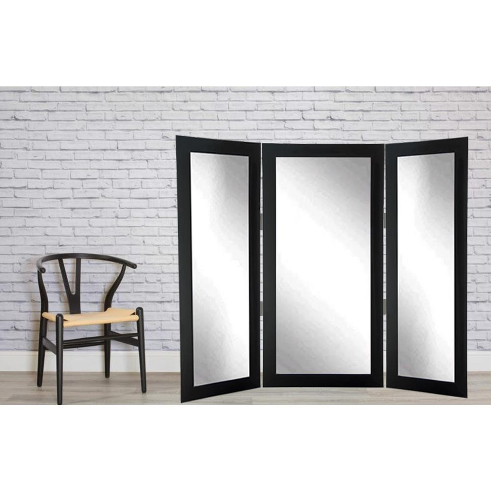 Full Body Black Trifold Dressing Mirror Bm2trifold The Home Depot Regarding Dressing Mirror (Image 11 of 15)