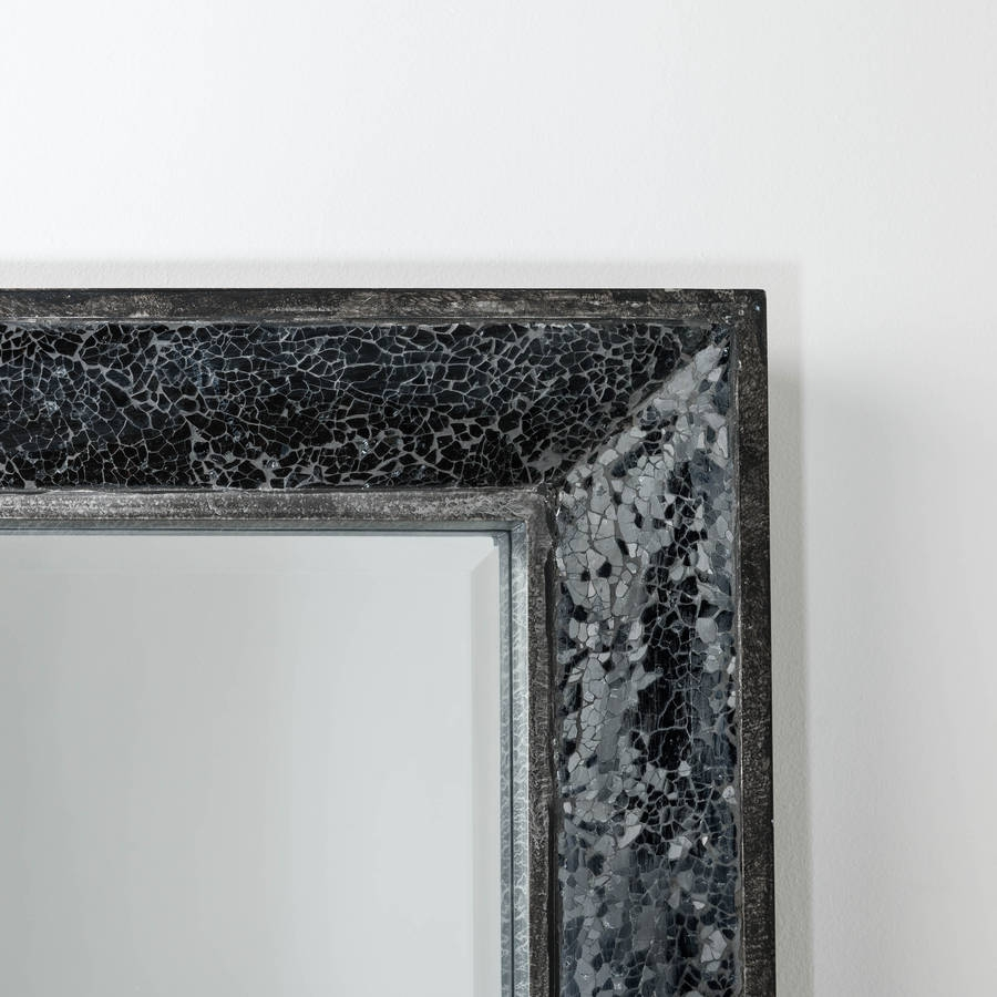 Full Length Mirror With Glitter Mosaic Hand Crafted Mirrors Within Silver Glitter Mirror (Image 5 of 15)