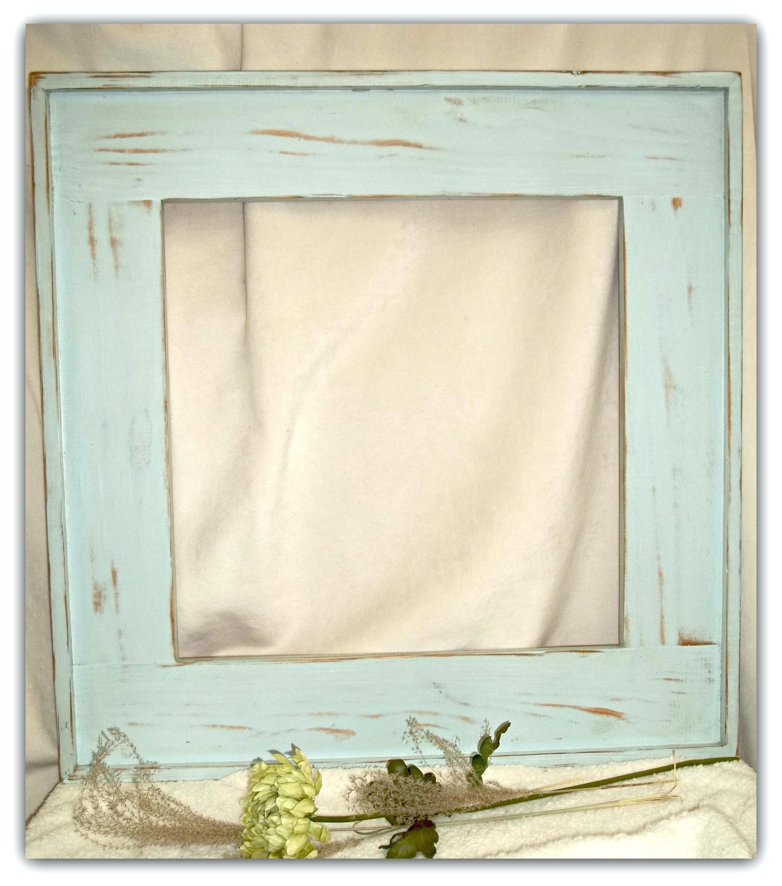 Full Length Tri Fold Mirror Wooden Rustic Distressed Blue Porthole Intended For Blue Distressed Mirror (Image 9 of 15)