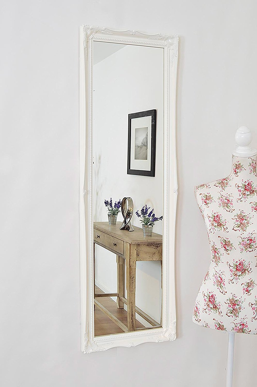 Full Length White Shab Chic Style Dressing Hall Mirror With Pertaining To Large White Ornate Mirror (Image 6 of 15)