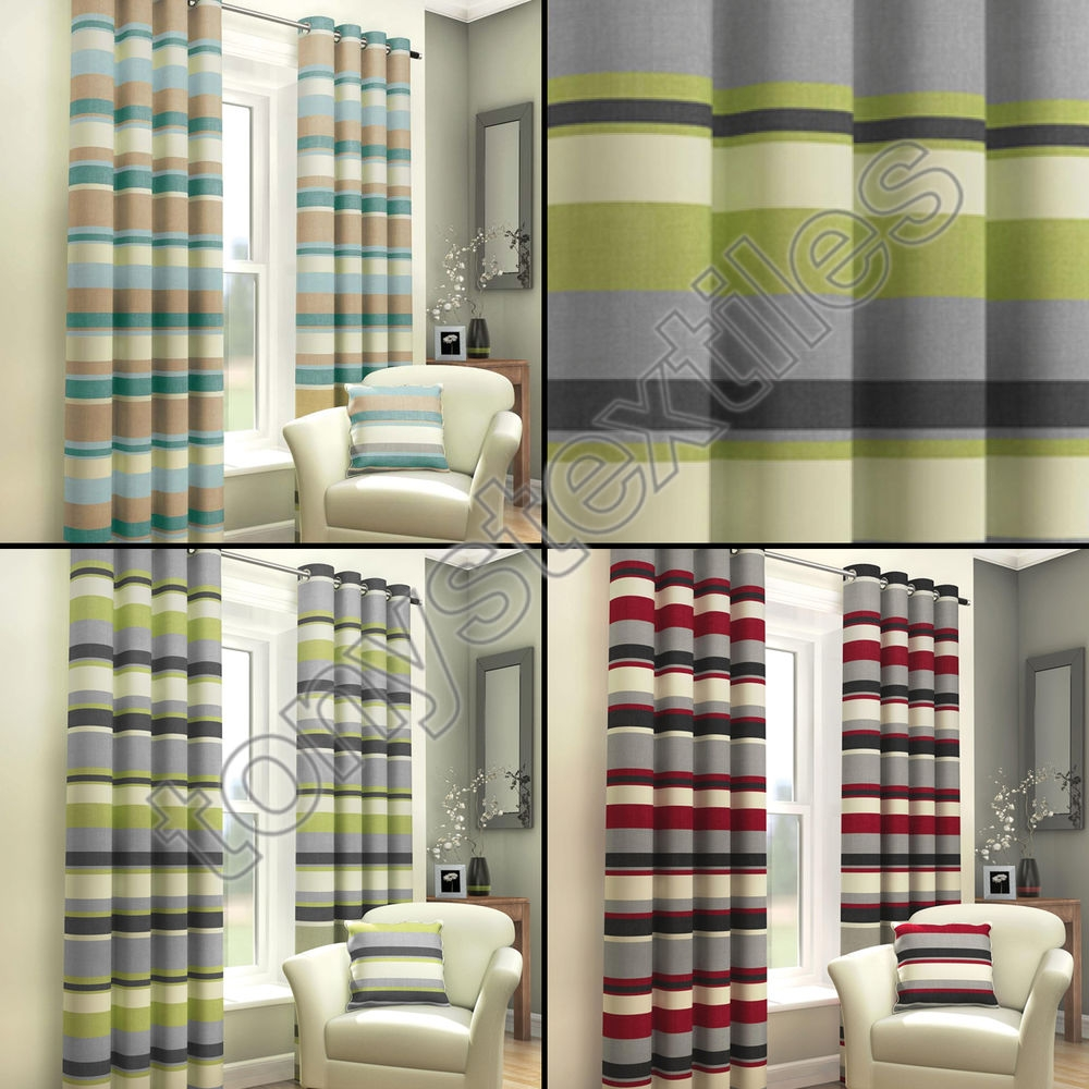 Fully Lined Curtains Ebay For Green And Cream Striped Curtains (Image 9 of 15)
