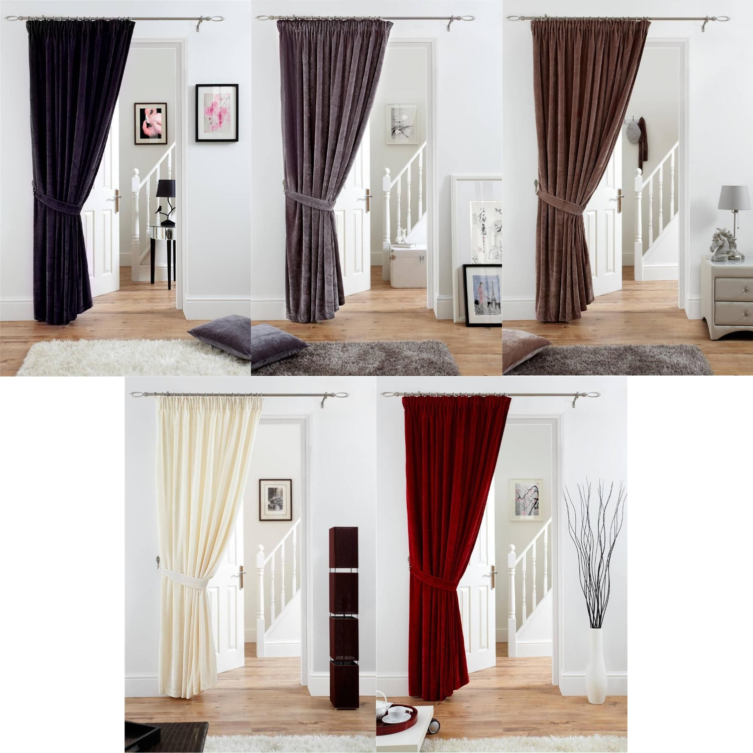 Fully Lined Velvet Door Curtain Pencil Pleat Deep Pile Polyester With Velvet Door Curtain (View 9 of 15)