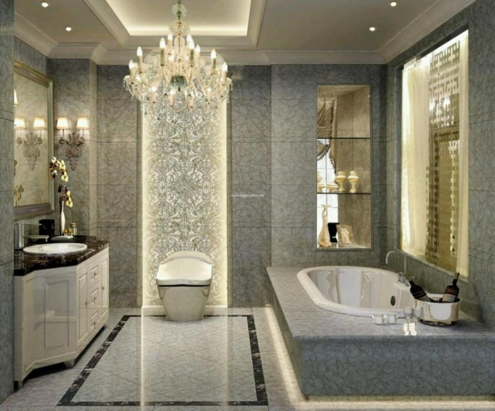 Furniture Backsplash In Bathroom Inspiration Luxury Bathrooms With Crystal Bathroom Chandelier (Image 12 of 15)